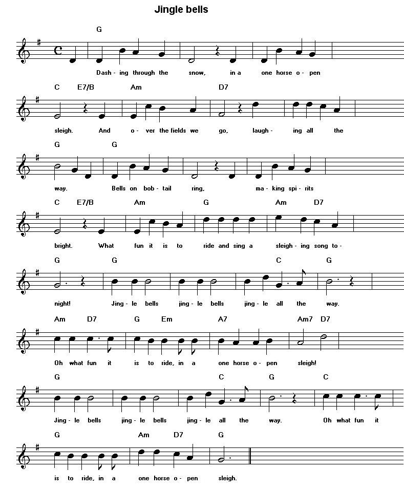 Jingle Bells Sheet Music For Guitar | New Calendar Template Site