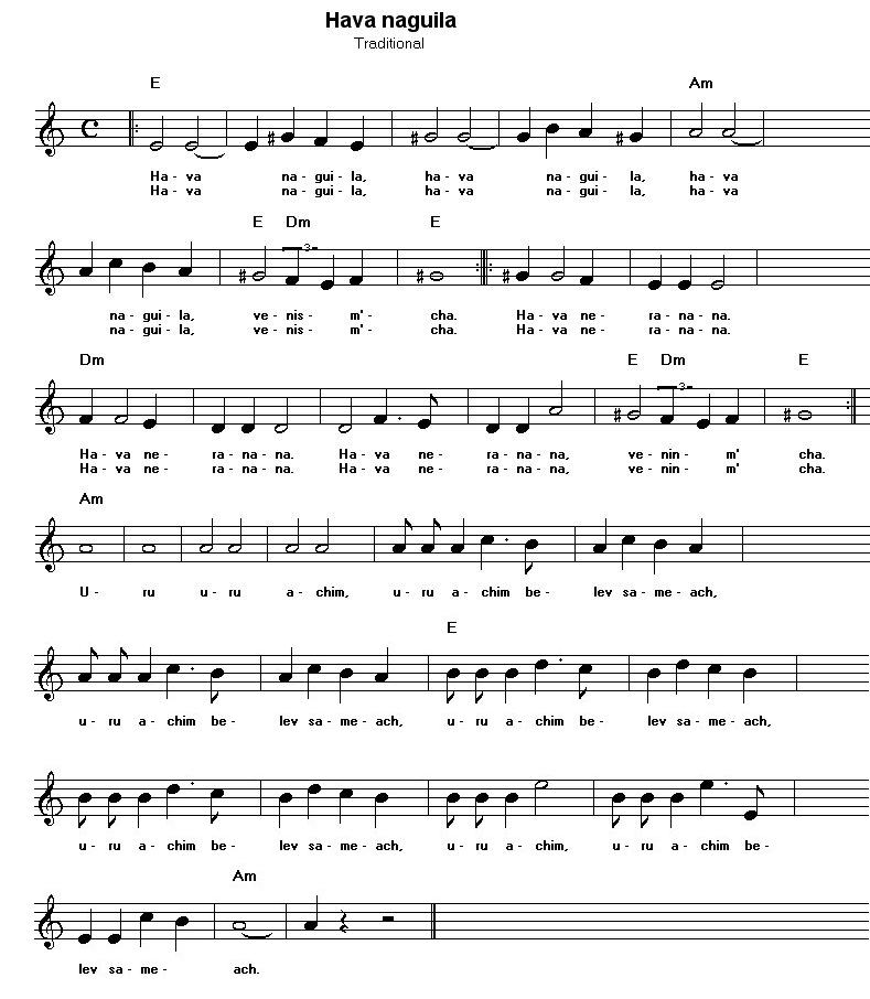 Free sheet music for traditional songs